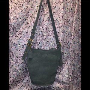 Coach Rare Green Vintage Nubuck Leather Bucket Bag